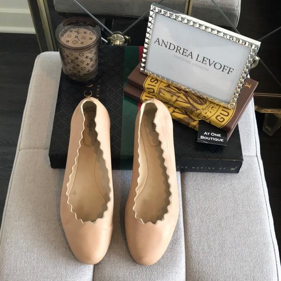 b5626f24a52 Chloe Shoes - Chloe Lauren Scallop Leather Ballerina Flats
